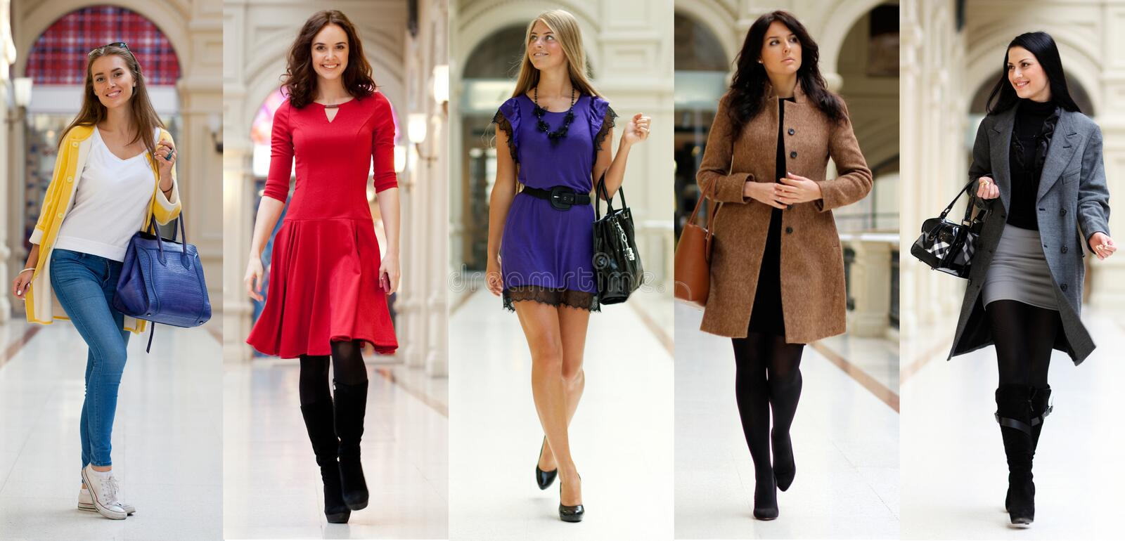 Collage five fashion young women. In shop stock photography