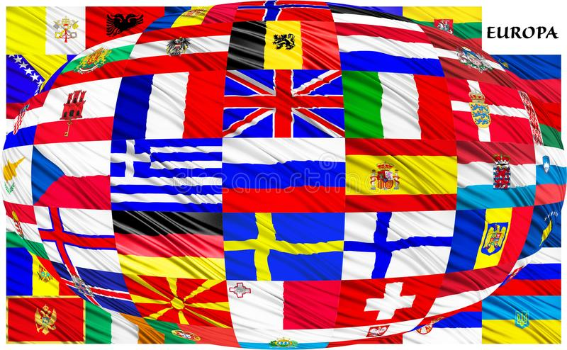 Collage of the flags of European countries stock illustration