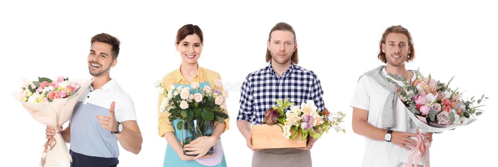 Collage of florists with flowers on background. Banner design. Collage of florists with flowers on white background. Banner design stock photos