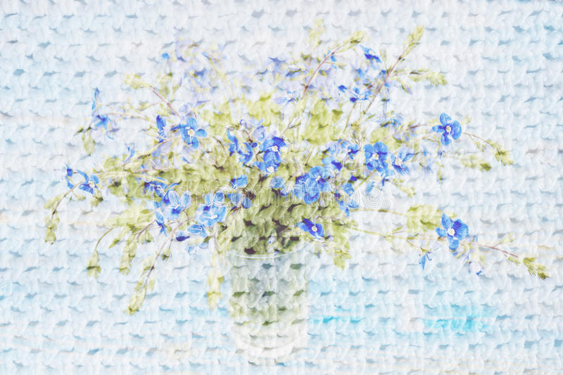 Collage with flowers and crochet pattern stock photo
