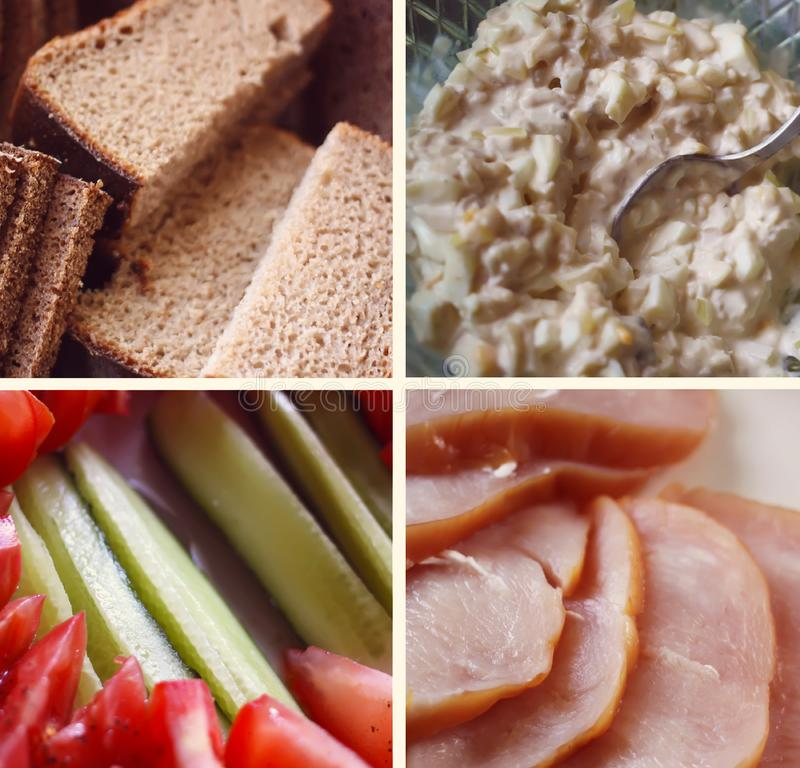 Collage of various food products. stock images