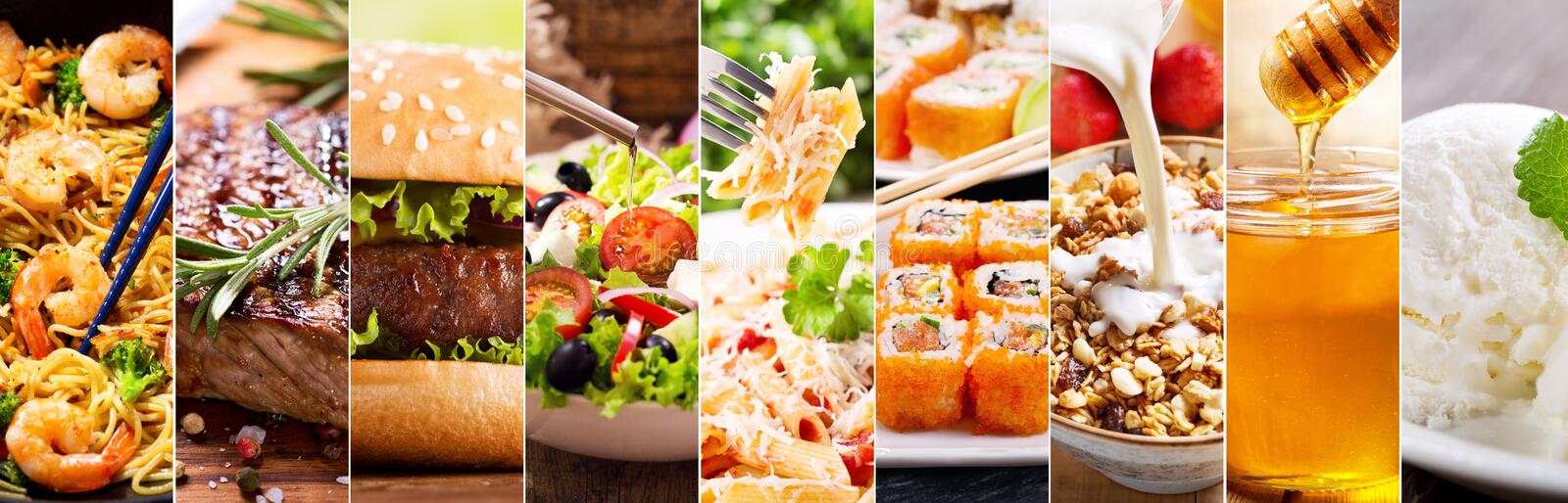 Collage of food products royalty free stock image