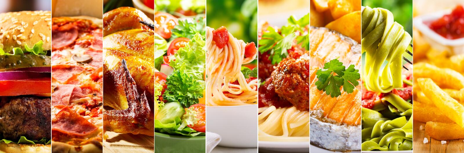 Collage of food products. Collage of various food products stock photo