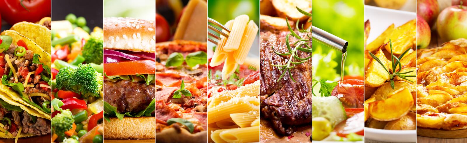 Collage of food products stock photography