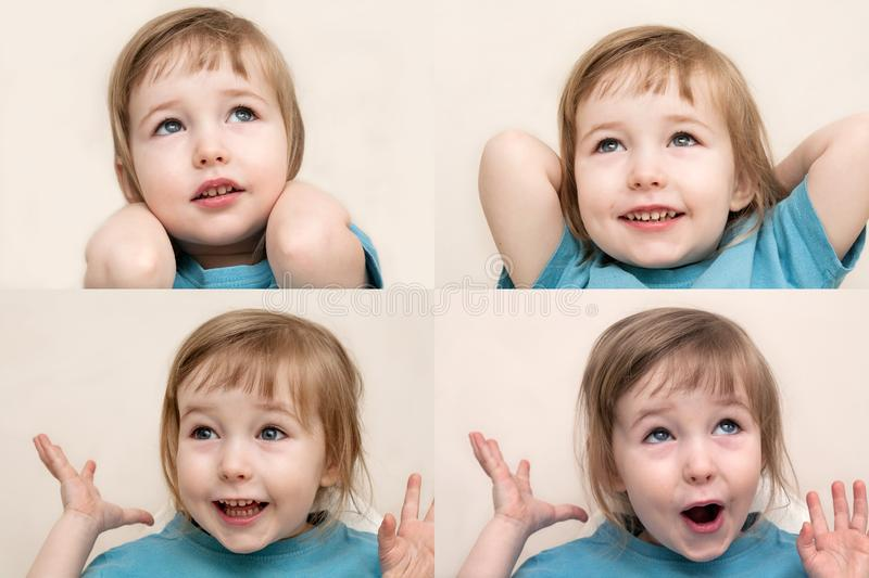 Collage of four photos with funny admiration emotional white child girl royalty free stock image