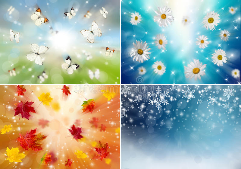 Collage of four seasons stock illustration
