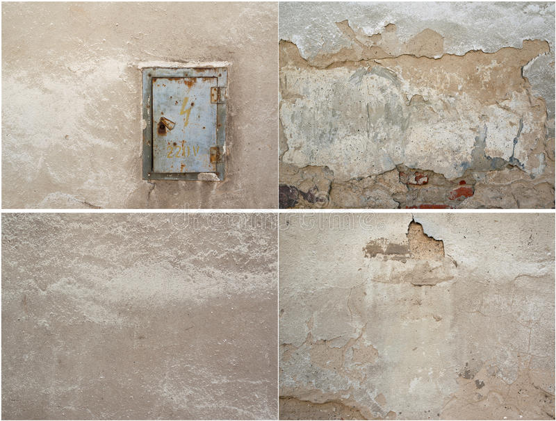 Collage of four texture of old plaster and metal door royalty free stock image