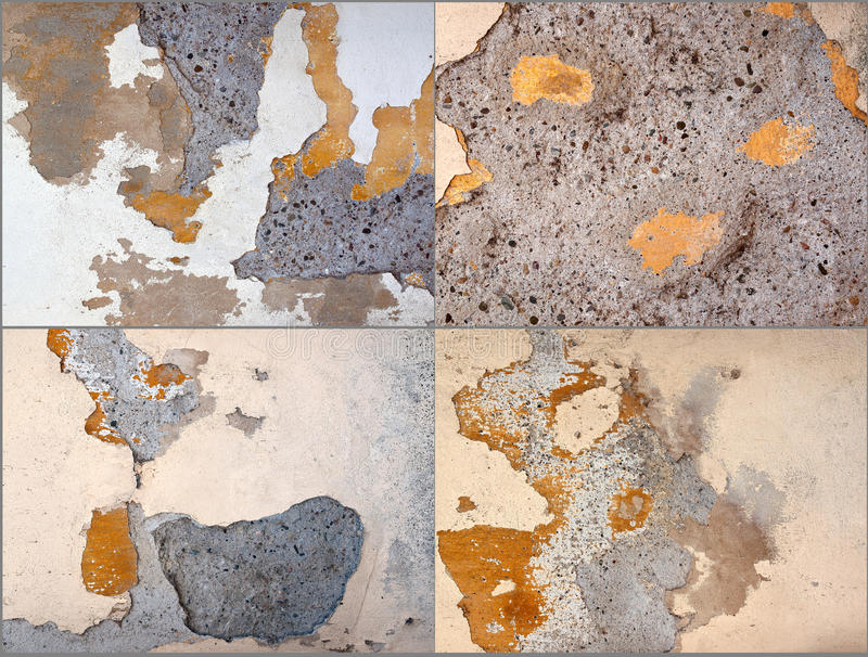 Collage of four textures of plaster stock images