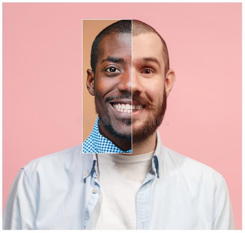 Collage från två bilder av att le afrikanska och caucasian män arkivbild