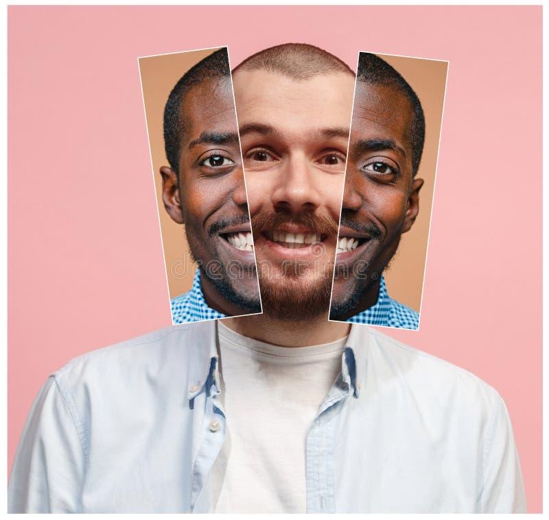 Collage från två bilder av att le afrikanska och caucasian män fotografering för bildbyråer