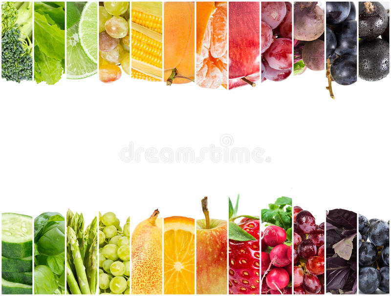 Collage of fresh fruits and vegetables stock photos
