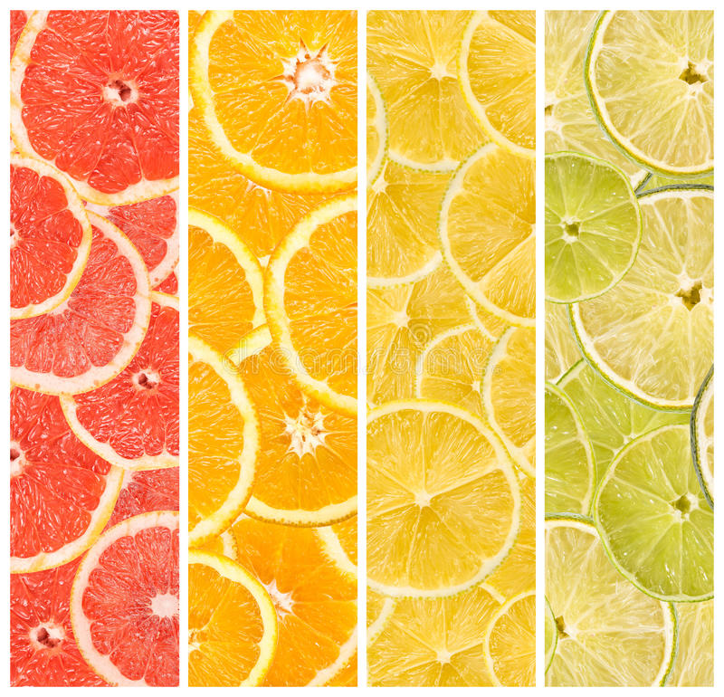 Collage Of Fresh Summer Fruits. Abstract Seamless Collage Of Fresh Summer Fruits royalty free stock photo