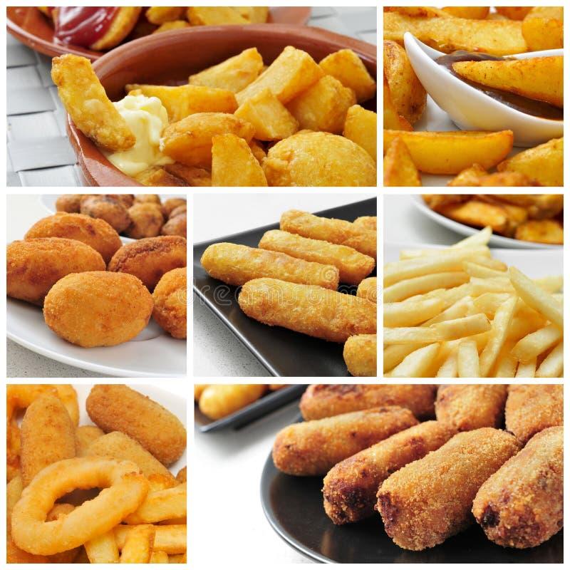 Collage frito de la comida fotografía de archivo libre de regalías