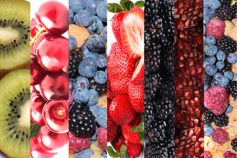 Collage of fruits and berries. Vitamins royalty free stock photo