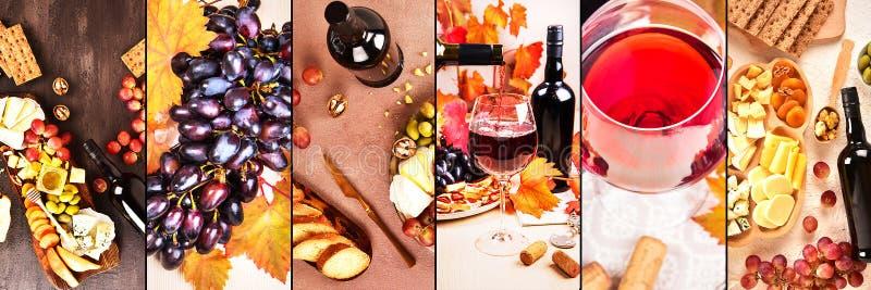 collage Fundo do alimento com vinho tinto, figos, uvas e queijo fotografia de stock