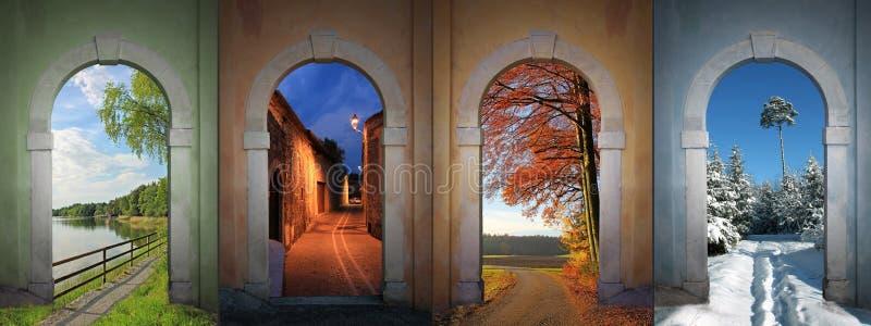 Collage fyra säsonger - II arkivfoto