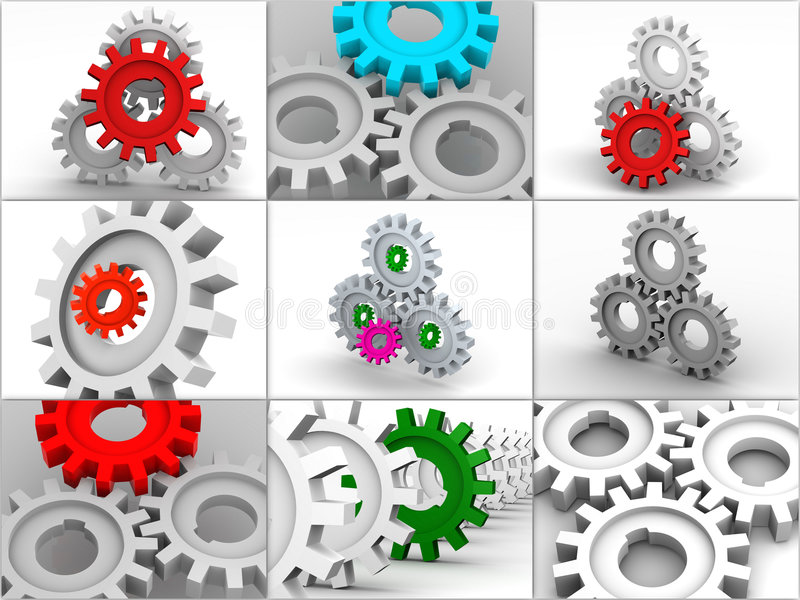 collage gears symboler stock illustrationer