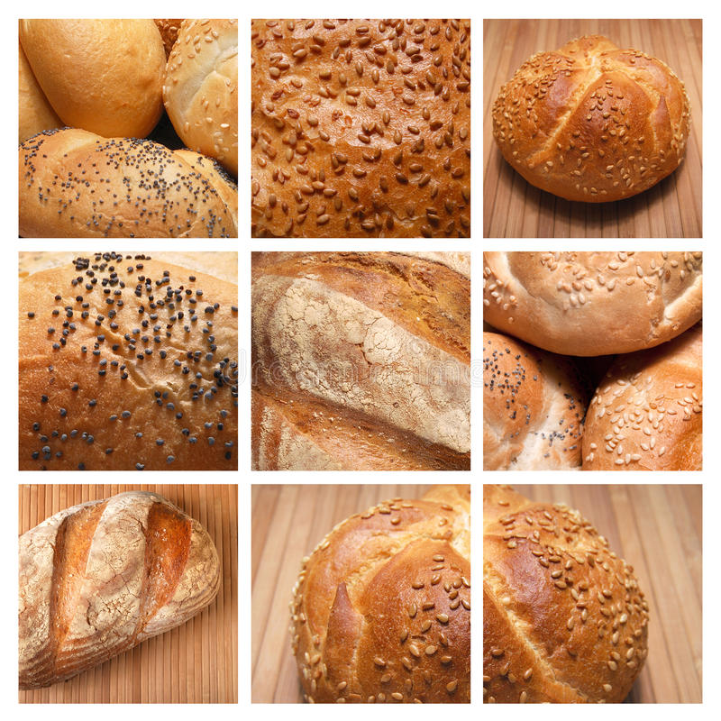 Collage - gebakken brood stock foto