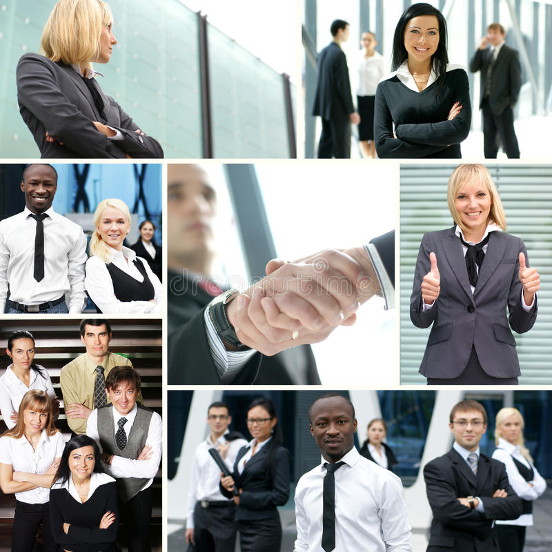 Collage gemacht von einigen Geschäftsbildern stockfotos