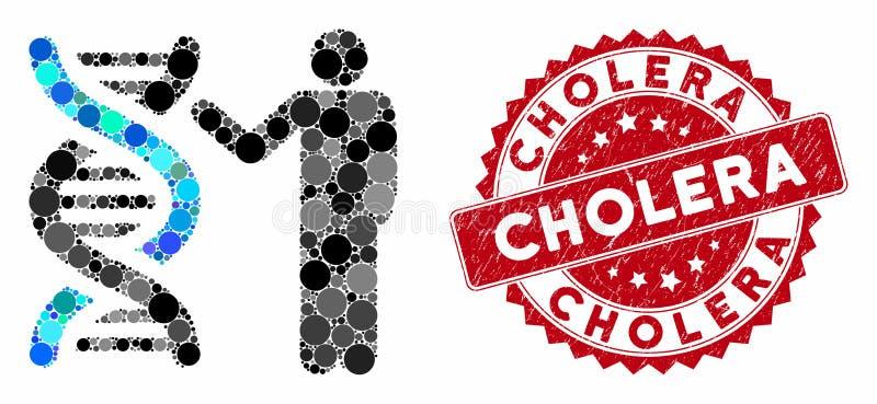 Collage Genetics Report (Bericht über die Genetik von Grunge Cholera) vektor abbildung