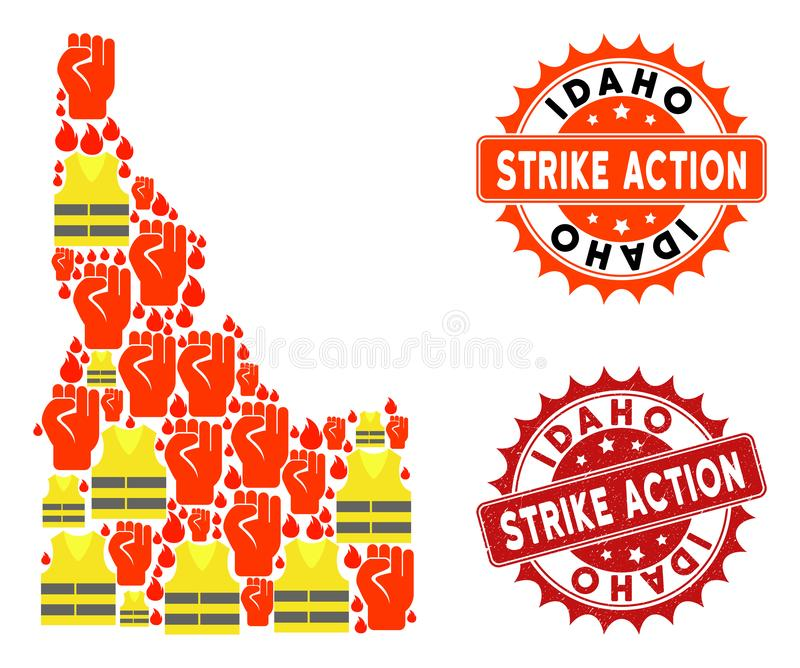 Collage of Gilet Jaunes Protest Map of Idaho State and Strike Action Stamps. Strike action collage of revolting map of Idaho State, grunge and clean stamps. Map royalty free illustration