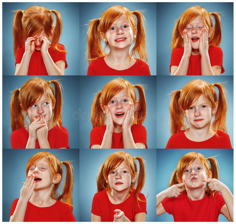 The collage of girl with different emotions. The collage of little girl with different emotions on blue background stock photos