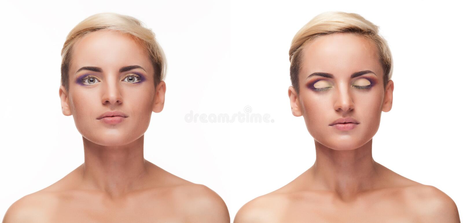 Collage of girl with open and closed eyes and perfect make up stock image