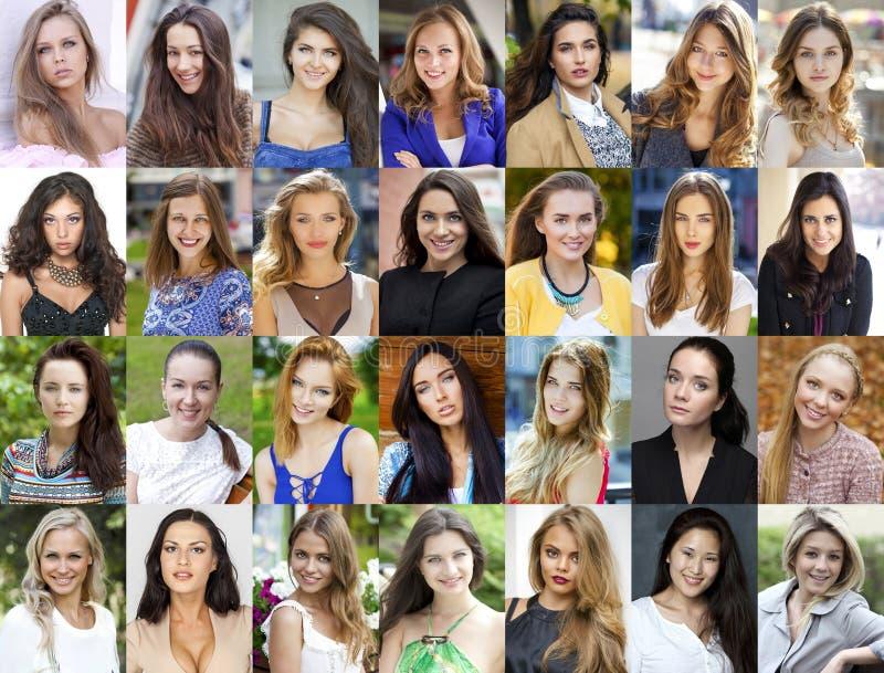 Collage, glückliche junge Frauen stockfoto