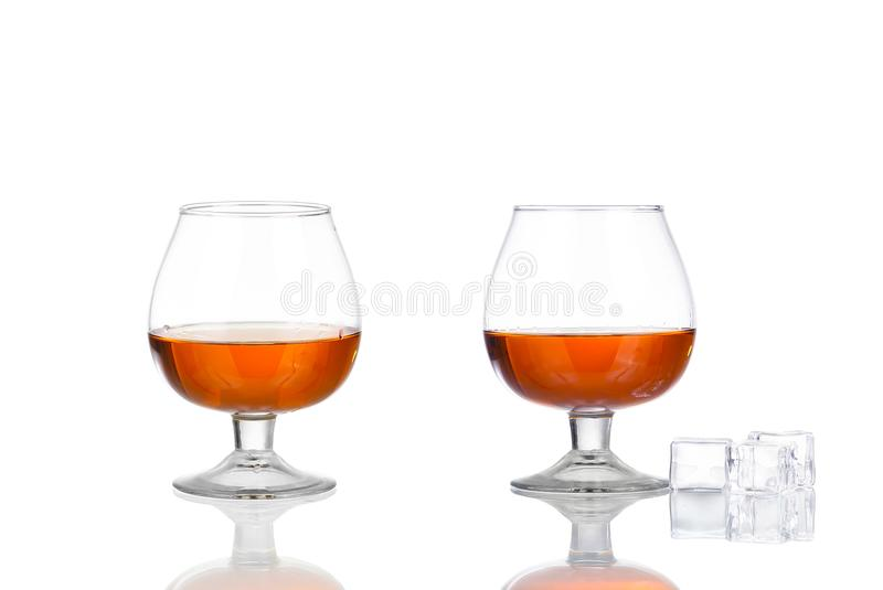 Collage glass of cognac isolated on white. Background royalty free stock images