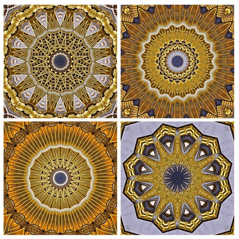 Collage, golden art nouveau pattern  seen through kaleidoscope. Digital art design, details of a art nouveau pattern  seen through a kaleidoscope stock illustration