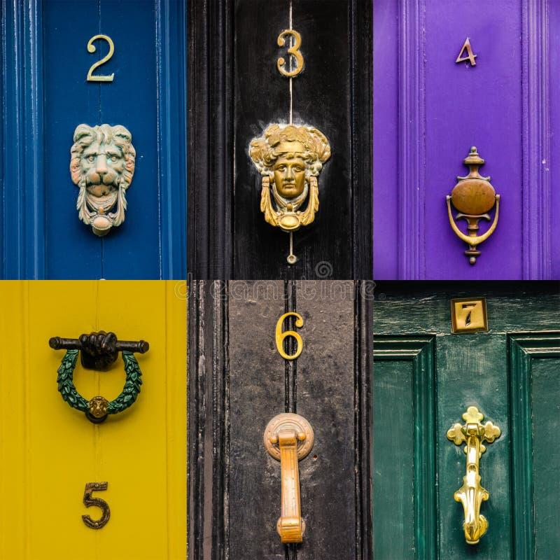 collage Golpeadores de puerta dublín irlanda imagenes de archivo