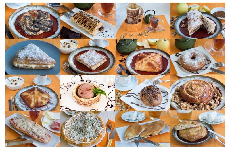 Collage grande con los bollos dulces té, café imágenes de archivo libres de regalías