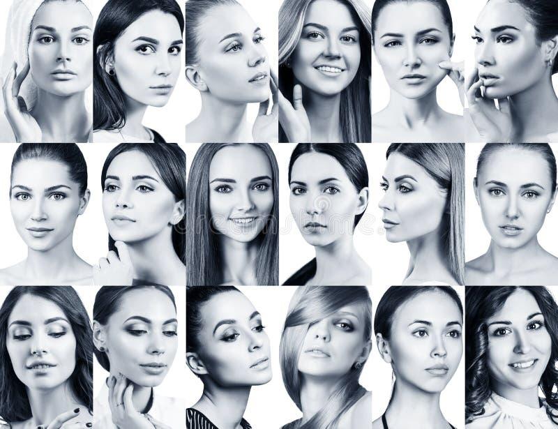 Collage grande de diversas mujeres hermosas foto de archivo