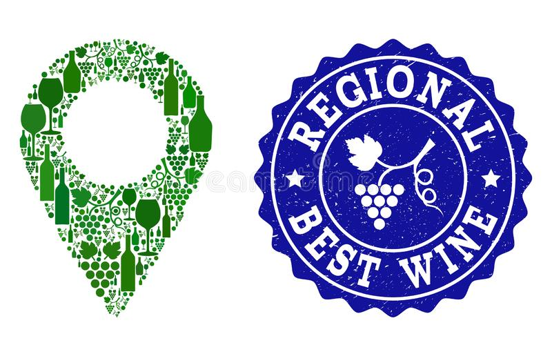 Collage of Grape Wine Local Map Marker and Best Wine Grunge Stamp royalty free illustration