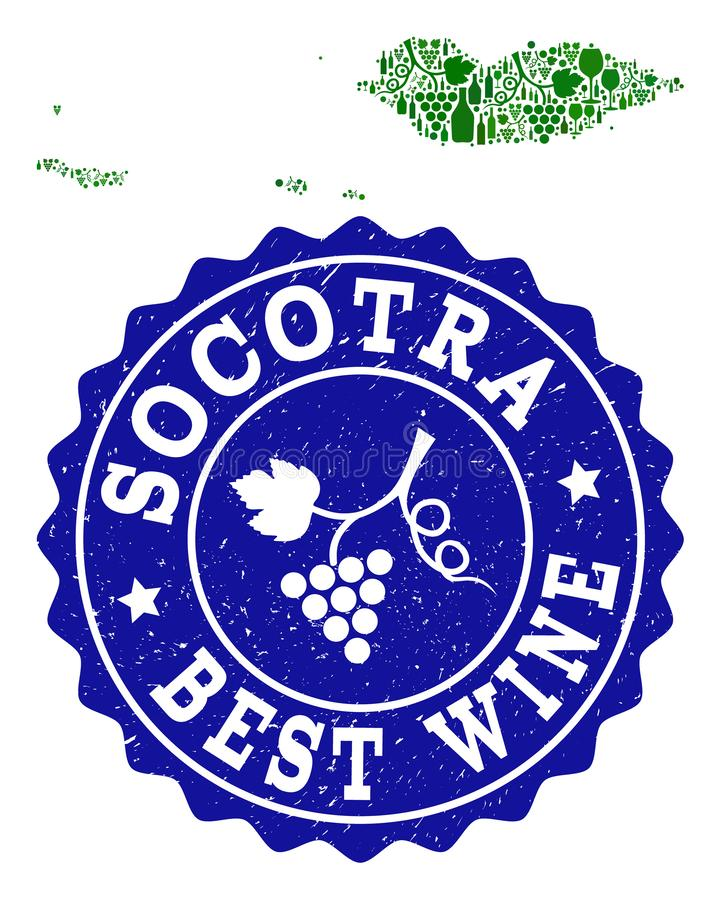 Collage of Grape Wine Map of Socotra Archipelago and Best Wine Grunge Seal. Vector collage of wine map of Socotra Archipelago and best grape wine grunge stamp vector illustration