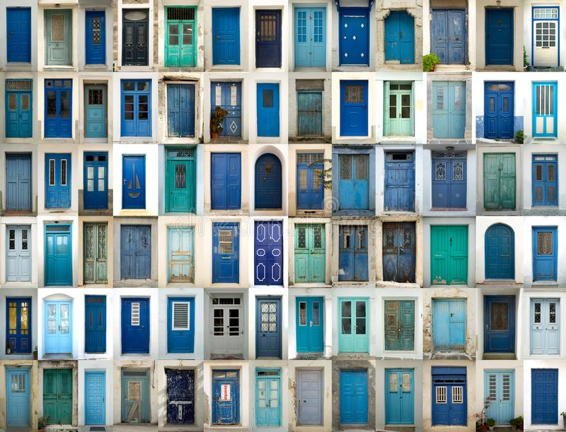 Collage of blue doors. A collage of greek doors all in blue tonality stock image