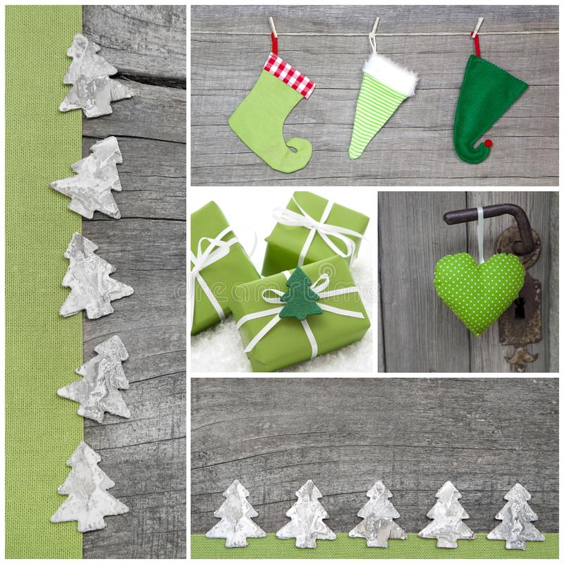 Collage of green Christmas decoration on grey wooden background. Mosaic of green christmas decoration stock photos