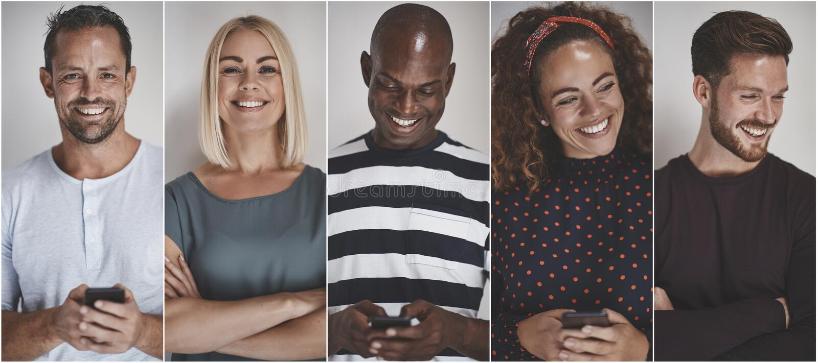 Collage of group of ethnically diverse entrepreneurs smiling stock photos