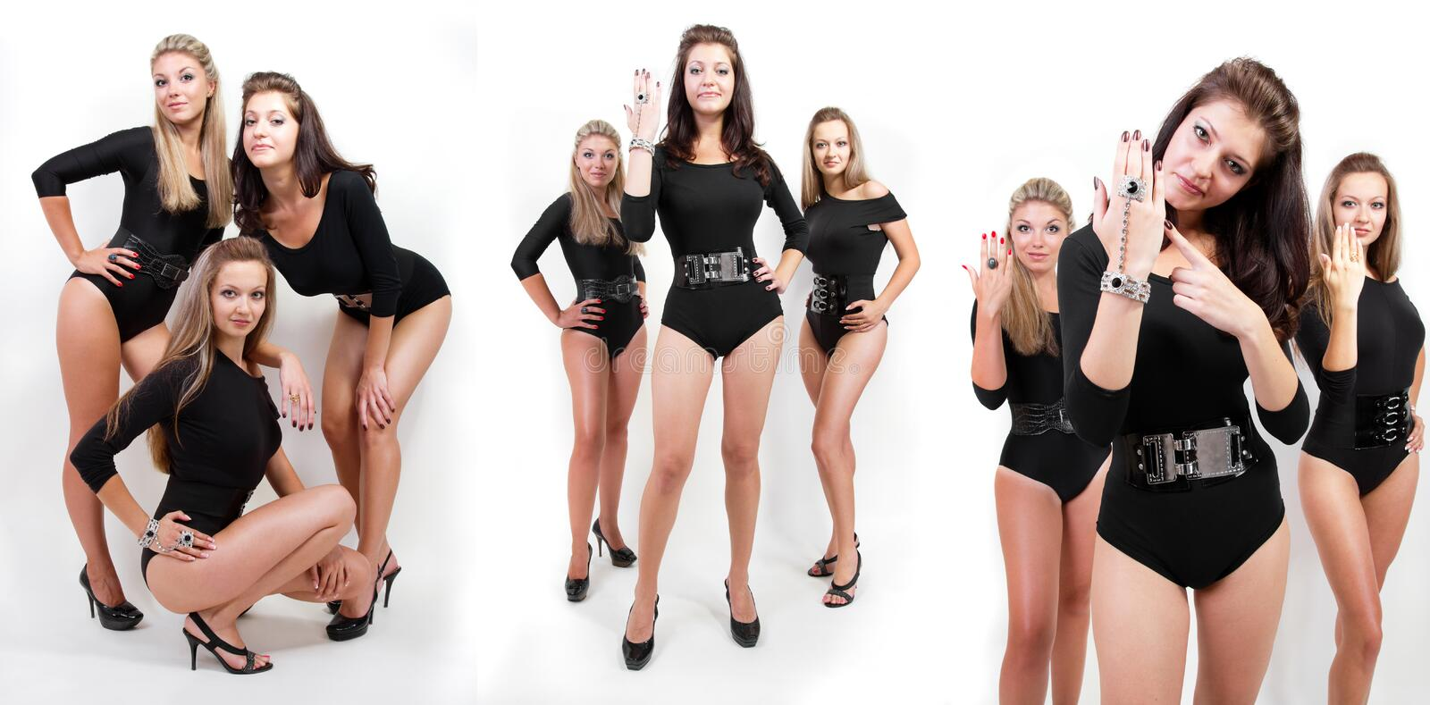 Collage of group of hot young women in bodysuits stock images