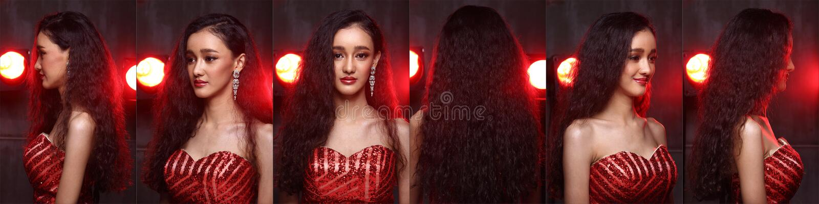 Fashion Asian Woman with Update style and make up Hairstyle stock image