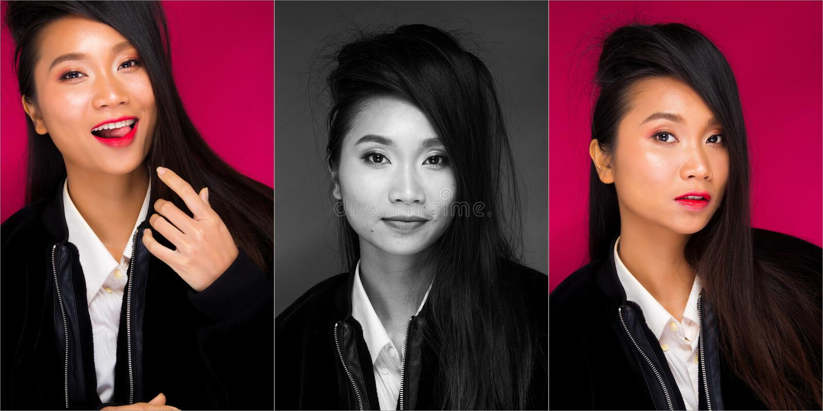 Asian tanned skin woman with strong color red lips. Collage Group pack of Fashion portrait of Asian Black hair tanned skin woman with strong color red lips stock images