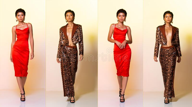 Asian Woman short hair wear Red gown and leopard tiger skin pattern royalty free stock photos