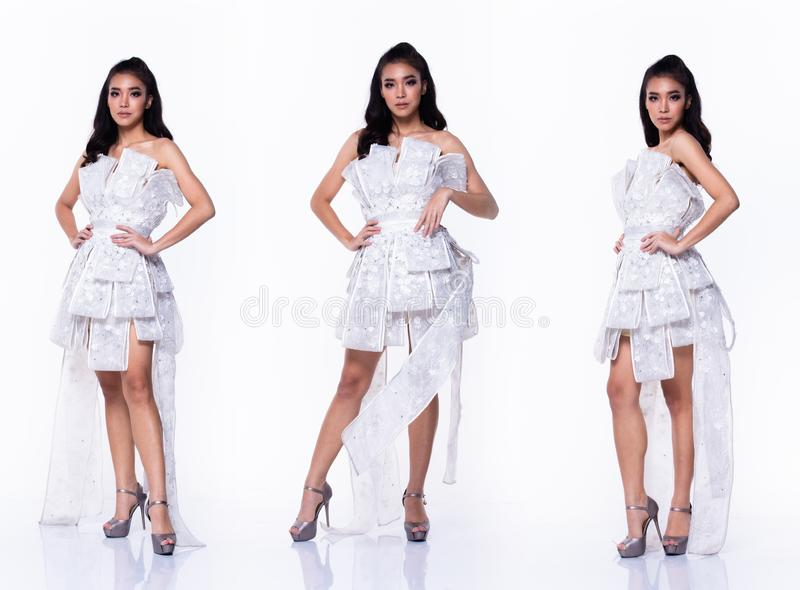 Collage group pack portrait of Fashion Asian Woman. Collage group pack Full length of Fashion Asian Woman Tan skin black curl hair beautiful high fashion white royalty free stock photography