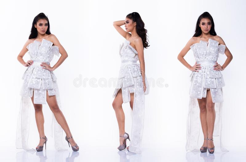Collage group pack portrait of Fashion Asian Woman. Collage group pack Full length of Fashion Asian Woman Tan skin black curl hair beautiful high fashion white stock photography