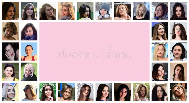Collage group portraits of young caucasian girls for social media network. Set of round female pics isolated on a white stock image