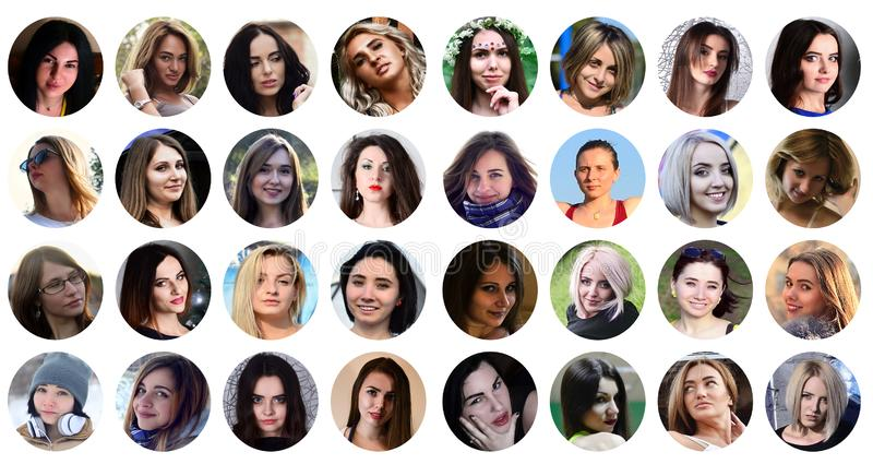 Collage group portraits of young caucasian girls for social media network. Set of round female avatar isolated on a white royalty free stock photo