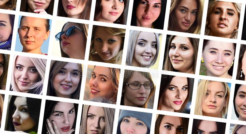 Collage group portraits of young caucasian girls for social media network. Set of square female avatar isolated on a white stock photo