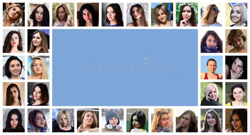 Collage group portraits of young caucasian girls for social media network. Set of round female pics isolated on a white royalty free stock images