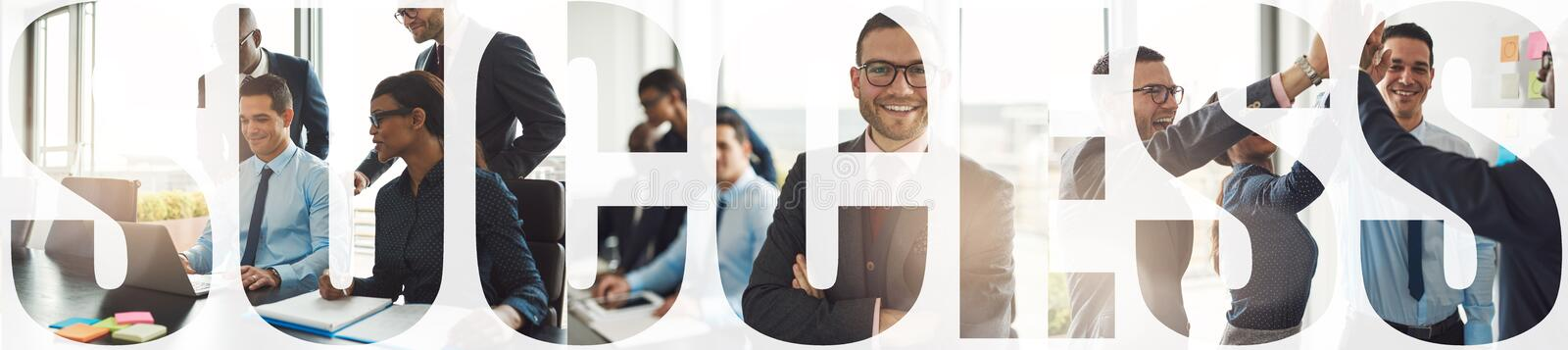 Collage of a group of successful businesspeople working together royalty free stock image