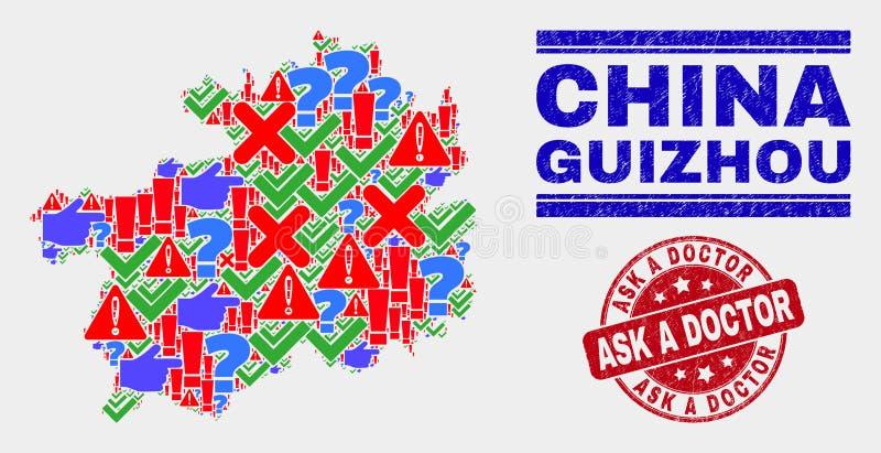 Collage of Guizhou Provinz Map Symbol Mosaic und Notress Ask a Doctor Stamp lizenzfreie abbildung